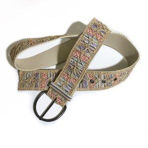 Pastel Stripe Belt w/ Jute Lace Overlay